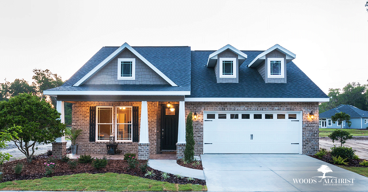 Here you can see one of the beautiful custom homes at Woods of Alchrist.