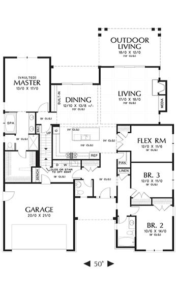 The Laurel custom home floor plan.